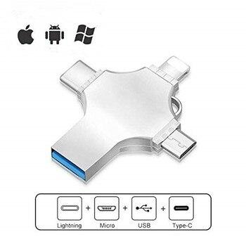 4 in 1 USB OTG Flash Drive 16GB 32GB Pendrive 64GB Tipo-C USB Bastone 128GB 256GB di Memoria Stick Per il iPhone Android PC 512 GB Shop2998025 Store