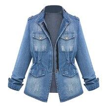 Women Casual Denim Jeans Jackets Cardigan Zipper Casaco Feminino Coat Pockets To