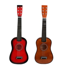 2 Set 23Inch Mini Guitar Basswood Kid's Musical Toy Acoustic Stringed Instrument with Plectrum String Coffee & Red