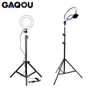 Image 5 - Dimmbare LED Ring Licht Kamera Foto Studio Fotografie Video Make Up Ring Lampe für Youtube VK Selfie Handy mit Stativ