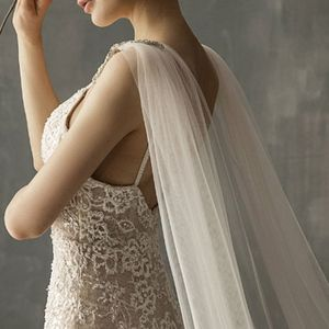 Image 4 - Women Tulle Cathedral Floor Length Wedding Capes Shoulder Imitation Crystal Jewelry Floral Appliques Bridal Long Wraps Cloak
