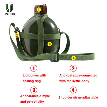 UNTIOR Aluminum Military Army Flask Wine Water Bottle Cooking Cup With Shoulder Strap Hiking Kettle Outdoor Tools 1L/2L 5