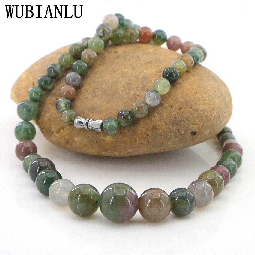 Модное ожерелье WUBIANLU 6-14 мм из натурального камня, агата, бисера, Женское Ожерелье-чокер, ювелирные изделия Jaspers Carnelian T223
