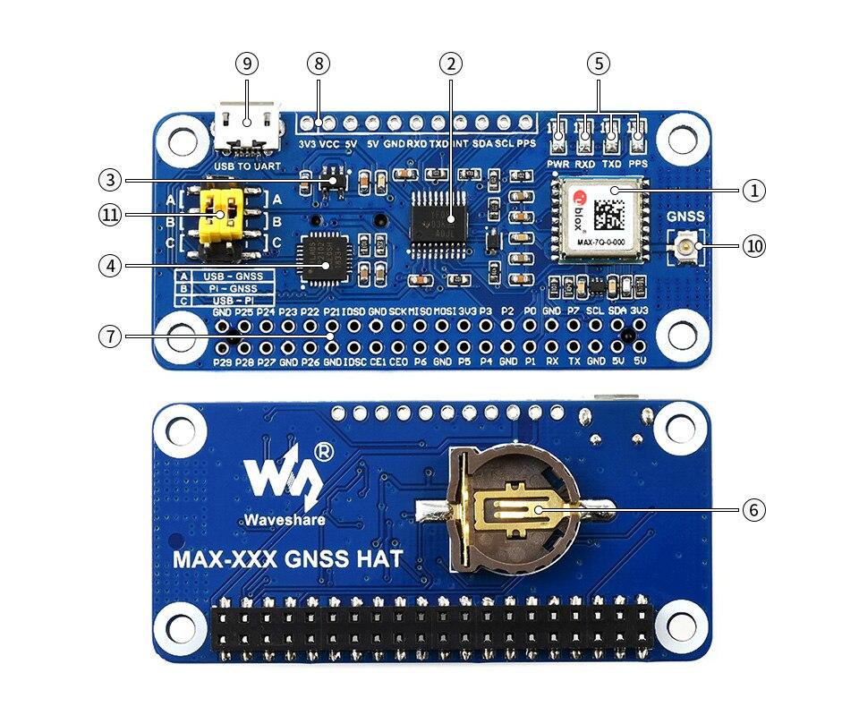 Waveshare MAX-7Q gnss chapéu para raspberry pi, gps, glonass, qzss, sbas