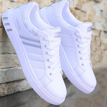 Men Sneakers Casual Flats Shoes Lac-Up White Shoes Men Shoes Lightweight Comfortable Breathable Walking Sneakers Vulcanized surom fashionable youth mens shoes casual unisex white sneakers breathable walking canvas shoes men women red lace up flats