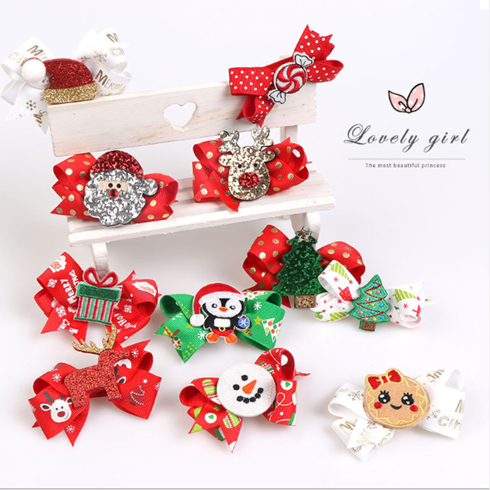 4Pcs//Set Santa Claus Hairpin Antler Hair Ring Christmas Hair Clips Scrunchies