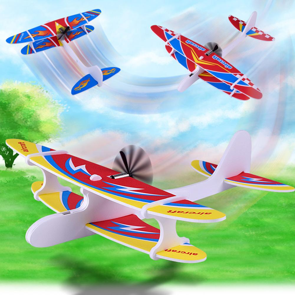 DIY Hand Throw Electric Fly Back Aircraft Rechargeable Glider Education Kids Toy  Aeroplane Model Party Outdoor Fillers Glider