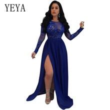 купить YEYA Sexy Mesh Maxi Sequins Party Dress Women Long Sleeve High Split Floor-Length Elegant Dress Vintage Pleated Maxi Dresses дешево