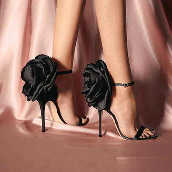 Flower Shoes Woman European And American-Style Big Flower Sandals Shoes Evening Nightclub Shoes Black Powder High Heels Sandals akamatsu flower bowtie shoes woman red diamond high heels pumps cover heels runway shoes pink black butterfly knot sandals