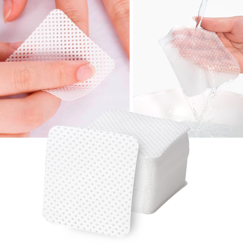 500Pcs Disposable Soft Lint-Free Nail Polish Remover Cotton Pads Makeup Cleaner Wipes Nail Remover Cleaning Sheet Nail Remover