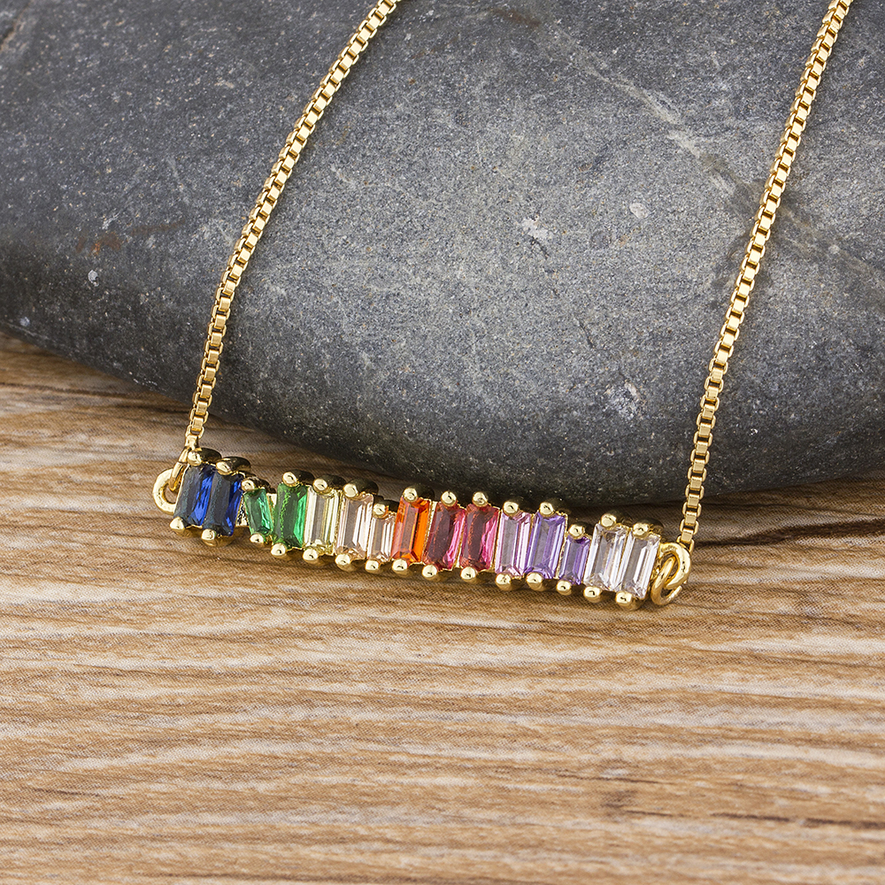 Hot Sale Copper Zircon Rainbow Necklace Colorful Rhinestone Pendant Chain Necklace Charm Christmas Birthday Party Jewelry Gift