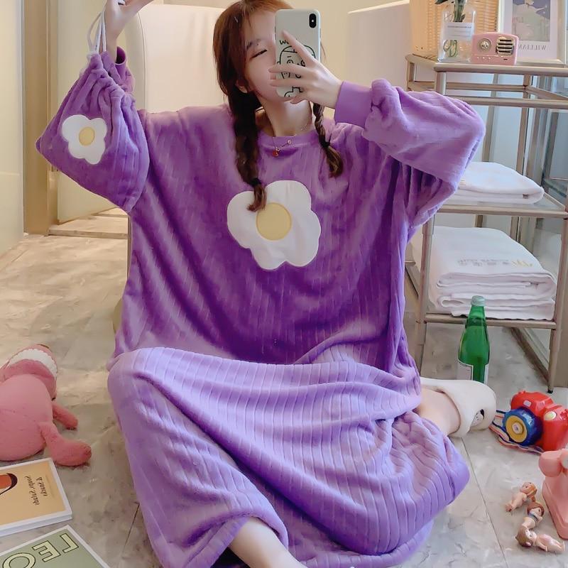 Korean Kawaii Oversized Women Flannel Nightgown Winter Warm Leisure Womens Nightdress Sleepwear Send Same Storage Bag Sleepdress
