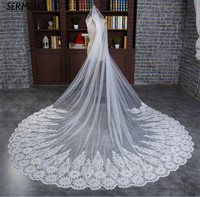 SERMENT Wedding Long Veil Cathedral Veil Two Layer Plain Dyed 300cm Cut Edge Lace Double layer Wedding Accessories