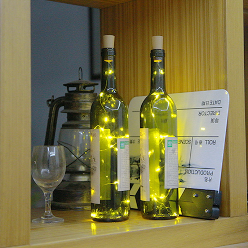 1.5M 15LED Wine Cork Light Bottle Light Cork Shape Battery Copper Wire String Lights For DIY Christmas Party Wedding Decor