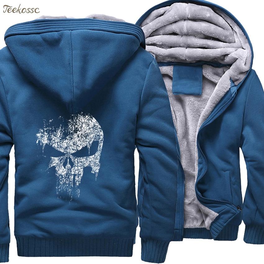 Image 5 - Super Hero  Skull Sweatshirts Men 2018 New Winter Fleece Print Thick Hoodies Jacket Hoddie Streetwear Hip Hop Male-in Hoodies & Sweatshirts from Men's Clothing