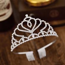 Heart Wedding Tiara Princess Crown Hair Jewelry Decoration Diadem for Girls Headband Combs Bride Accessories Ornaments