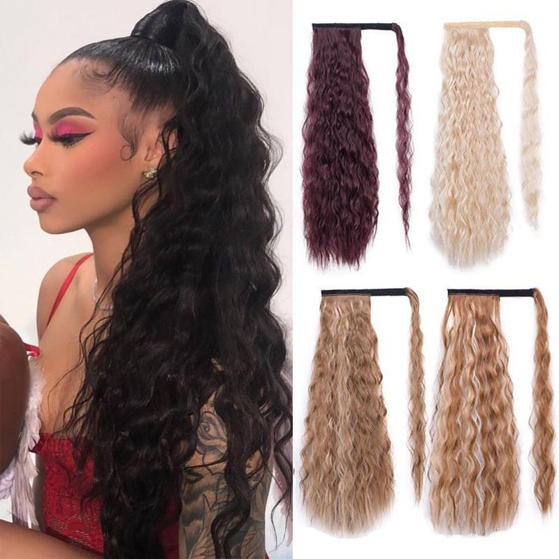 Corn Wavy Long Ponytail Synthetic Hairpiece Wrap On Clip Hair Extensions Ombre Brown Pony Tail Blonde Fack Hair