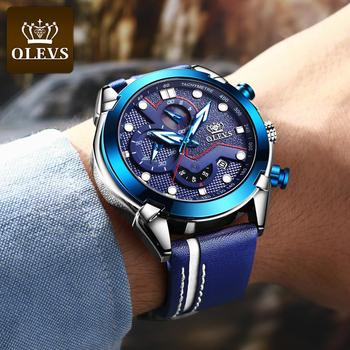 New Fashion OLEVS Sport Chronograph Men's Watches Top Brand Casual Leather Strap Waterproof Date Quartz Watch Man Clock 2