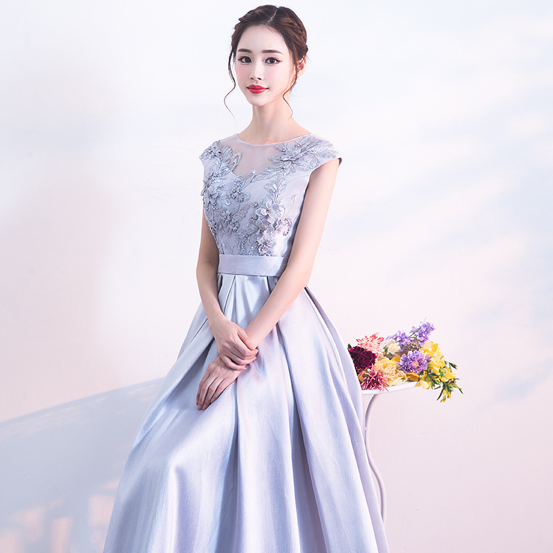 Evening Gown Women's Long 2019 New Style Autumn And Winter Banquet Elegant Host Dress Slim Fit Slimming Princess Korean-style