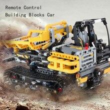 2,4 г гусеничный погрузчик Перевозчик 42094 DIY Строительные блоки Кирпич RC техника автомобиль игрушка