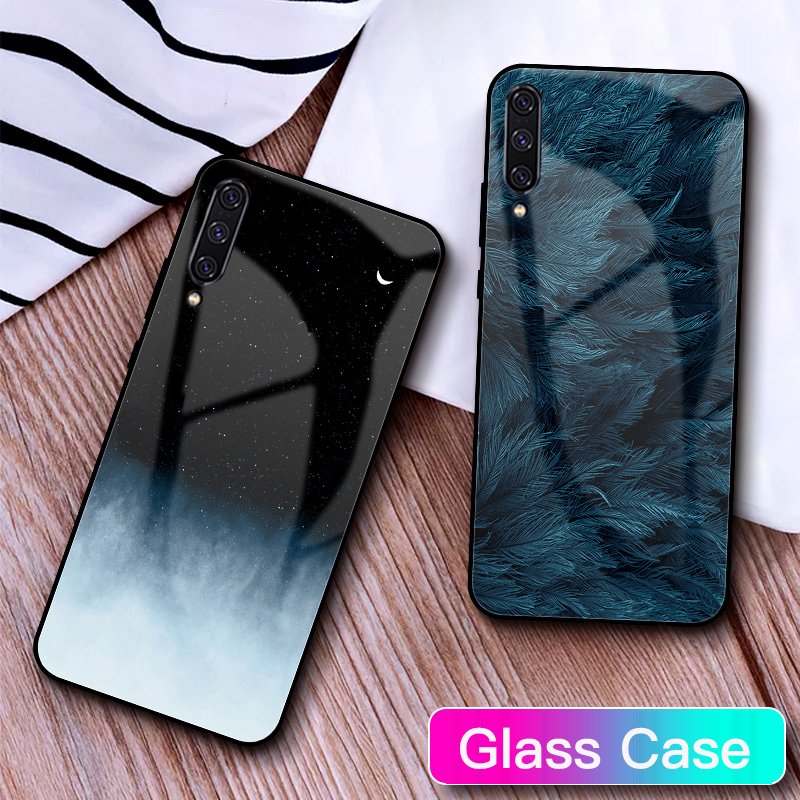 Tempered <font><b>Glass</b></font> <font><b>Case</b></font> For <font><b>Samsung</b></font> Galaxy A50 Feather Print Cover For <font><b>Samsung</b></font> Galaxy A30 A20 <font><b>A10</b></font> A40 S9 A70 Phone <font><b>Cases</b></font> S10 image