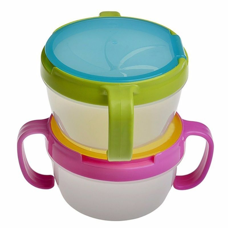 Baby Toddler Feeding Bowl Dinnerware Snack Biscuits Food Keeper Children Spill Proof Double Handle Cup Container Traveling