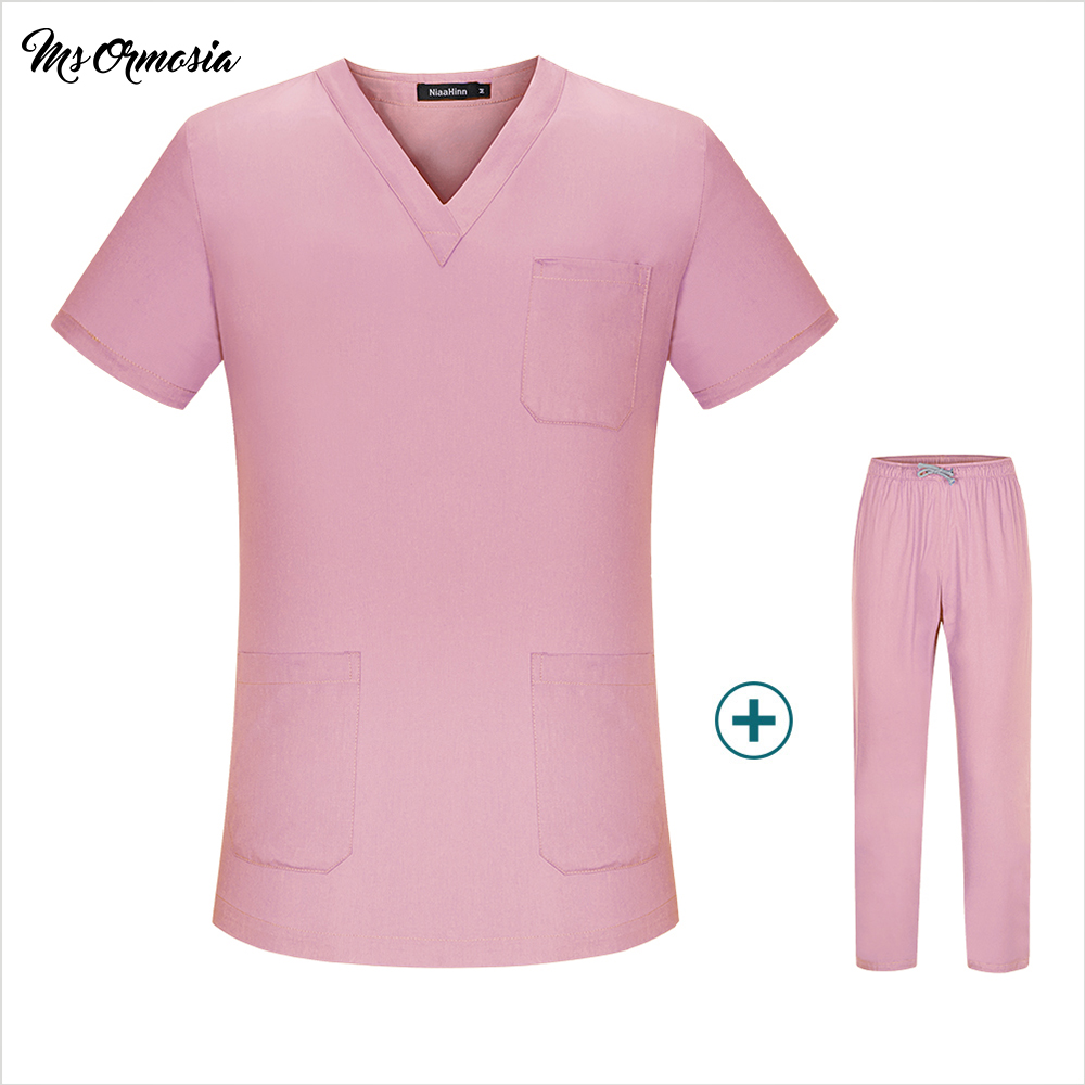 Quality Medical Clothing Matching Women Men Cartoon Hospital Nursing Scrubs Set Clinical Uniforms Surgical Suit Tops And Pants