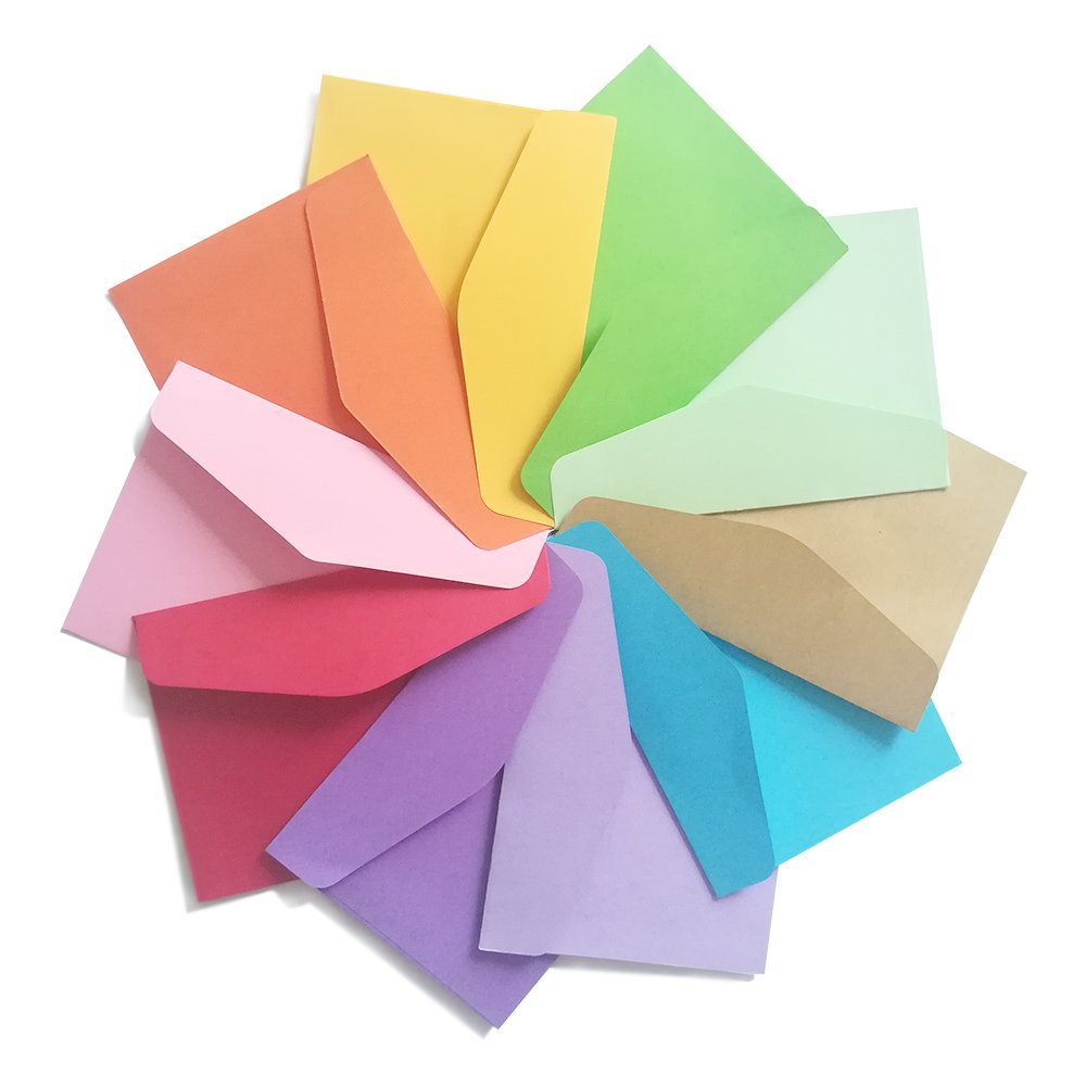 11.5x8cm Size 10pcs/pack Small Mini Paper Envelopes ID Card Packing Colorful Color Letter Envelope Pink Blue Red Black Kraft