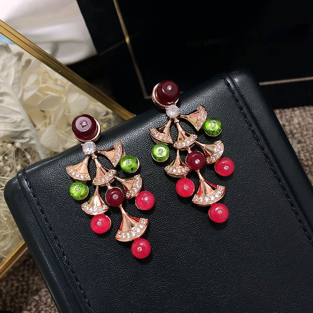 Hezekiah S925 Sterling silver fan earrings high quality Aristocratic temperament ladies earrings Prom party earrings