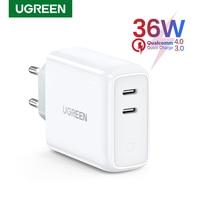 Ugreen-cargador USB tipo C para móvil, dispositivo de carga rápida 4,0 3,0, PD36W, para iPhone 11 Pro, XS, Macbook, iPad, QC 3,0, Huawei
