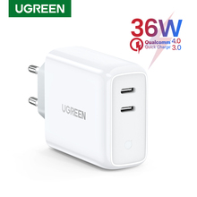 Ugreen cargador USB tipo C para iPhone, cargador PD36W de carga rápida 4,0, 3,0, para iPhone 11 Pro, XS, Macbook, iPad, QC 3,0