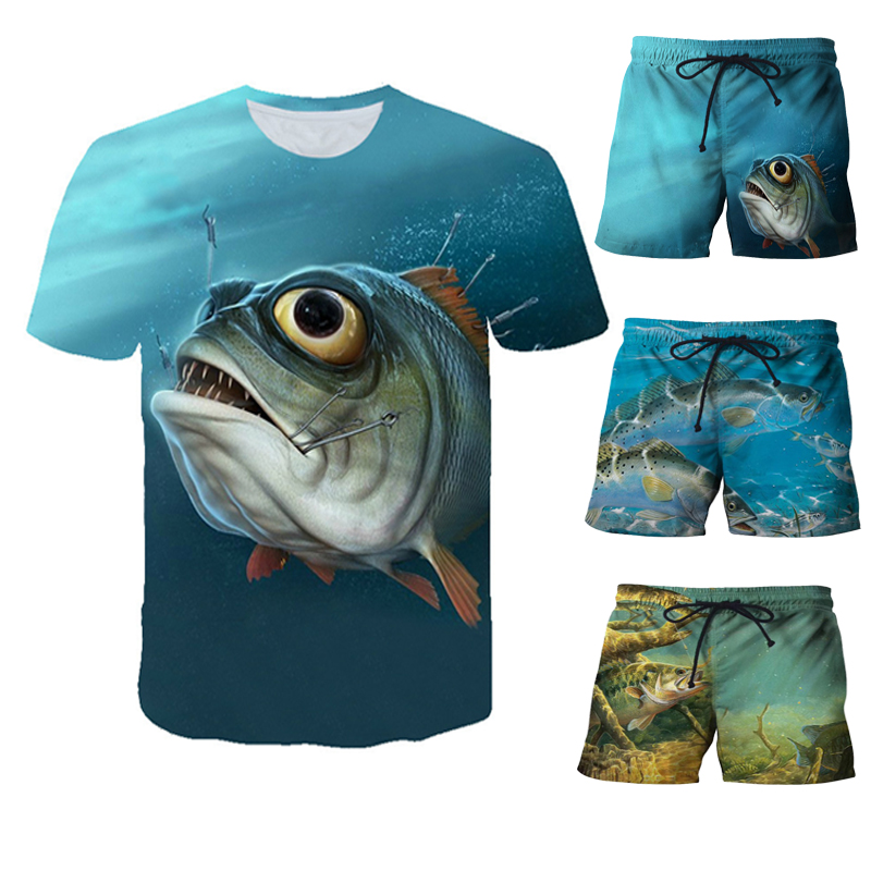 Summer Men Fishing Clothing Set Short Sleeve Fishing Round Shirt And Shorts Outdoor Leisure T-shirt Fishing Clothes Shirt Pants