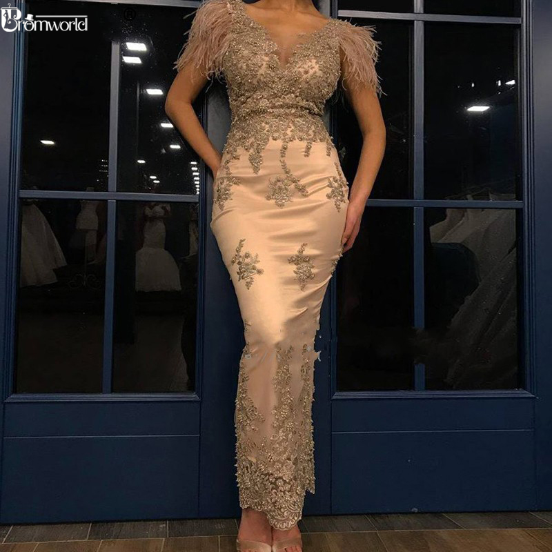 Abendkleider Gold Mermaid Formal Evening Dress Robe De Soiree Beaded Feathers Lace Evening Dresses Long Party Gowns 2019 Abiye
