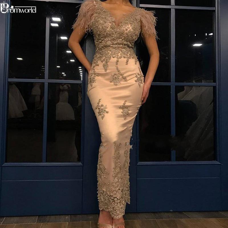 Abendkleider Gold Meerjungfrau Formale Abendkleid robe de soiree Perlen Federn Spitze Abendkleider Lange Party Kleider 2020 abiye