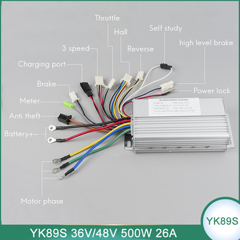YK89S 36V 48V 500W Brushless Controller DC Electric Bike Scooter E-Car Tricycle Part 120 Degree With Hall Reverse 26A image