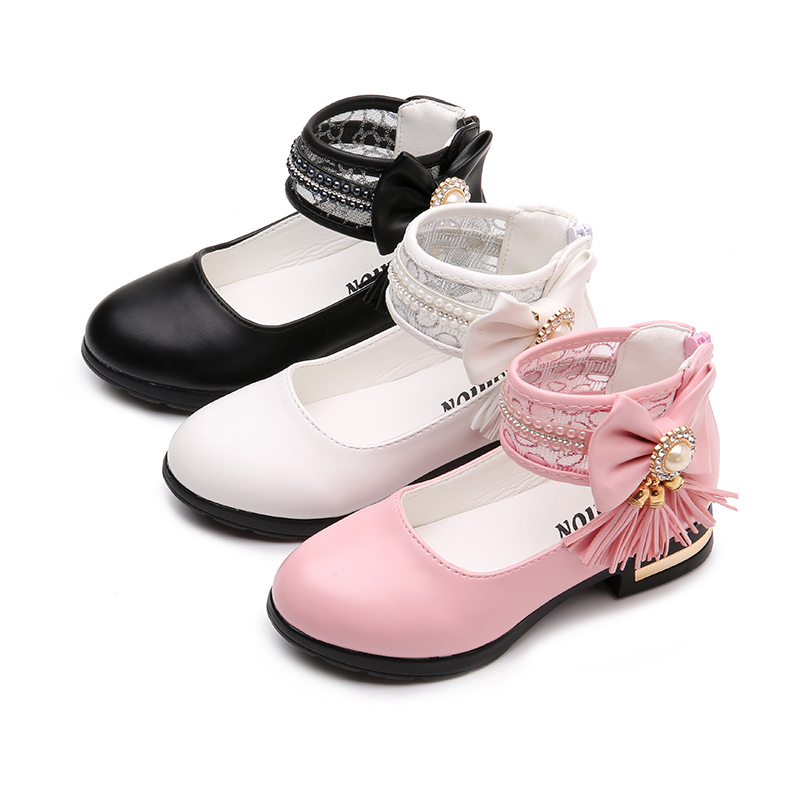 Girls Leather Shoes Spring New Solid Color Bead Tassel Kids Shoes For Girl Princess Student Dancing Shoes Pink STQ007