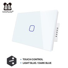 USมาตรฐาน1 Gang 2 Way Control Touchบน/ปิดสวิทช์บันไดLight Controller Home Automation 2 3gang NullและLive Line