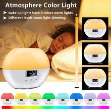 Upgrade Smart Wake Up Light Sunrise Alarm Clock with 9 Colors for Kids Sunrise Simulation Sleeping Mode Night Light for Bedrooms