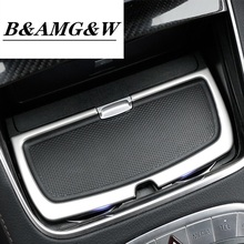 Car Styling Interior Stainless Steel sticker Water Cup Holder Panel Decoration Trim For Mercedes Benz S class W222 Accessories