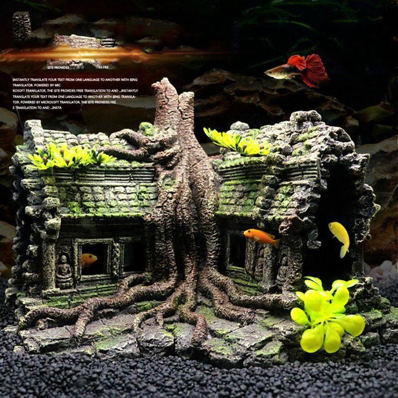 Resin Imitation Wooden Root House Ruins Aquarium Ornament Fish Tank Decoration Aquarium Accessories Aquarium Decor