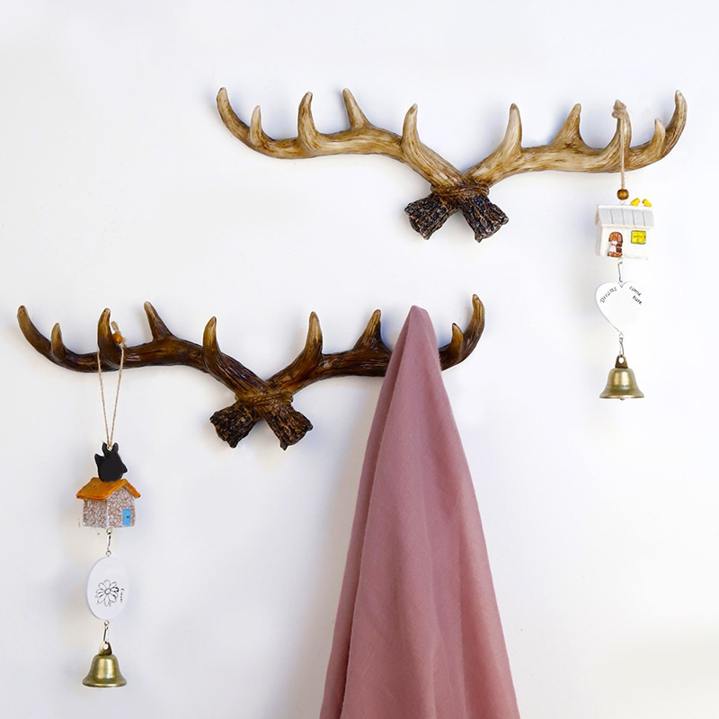 Retro Deer Hook American Style Key Holder Resin Hanger Coat Bag Ornaments Hook Home Decoration Key Rack Artificial Deer Hooks|Hooks & Rails| |  - title=