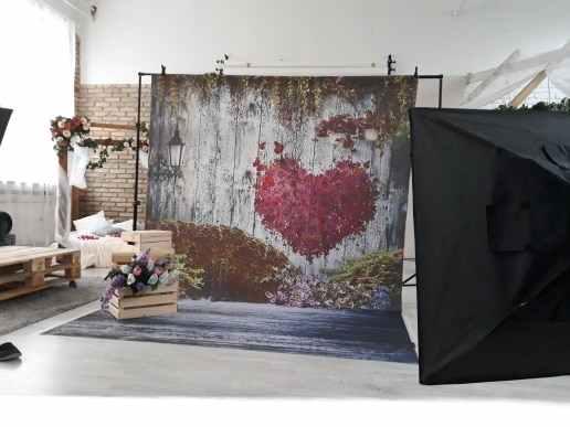 Allenjoy Fotografische Achtergrond Hout Hart Valentijnsdag Bloemen Bruiloft Photocall Fotografie Achtergrond Voor Fotoshoots Studio