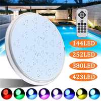 RGB 7 Color Swimming Pool LED Light 144/252/380/423LED Underwater Lamp with Remote Control fit for Swimming pool Fountain Ponds