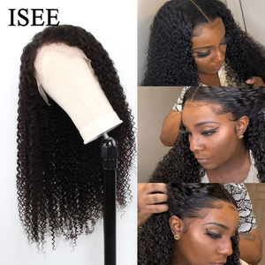 Image 3 - Brazilian Kinky Curly HD Transparent Lace Frontal Wigs For Women 13x4 ISEE HAIR Human Hair Wigs 180% Density Lace Front Wigs