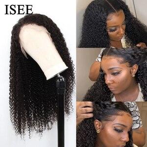 Image 3 - 브라질 변태 곱슬 HD 투명 레이스 정면 가발 여성 13x4 ISEE 머리 인간의 머리가 발 180% 밀도 레이스 프런트가 발