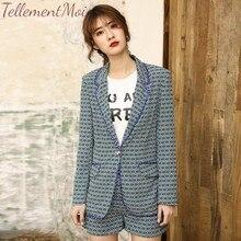 Elegant Two Pieces Women Short Suit 2019 Autumn 2 Sets One Button Print Blazer Jacket Coat + Shorts OL Set Female Outfits