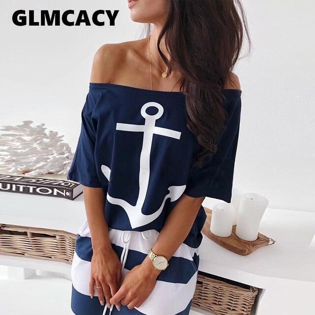 Femmes deux pièces ensembles bateau ancre imprimer T-Shirt & rayé jupe ensembles décontracté cheville-longueur mode épaule dénudée Maxi rayé jupe 1