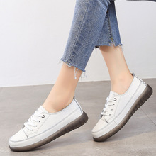 Female Flats Sneakers Casual-Shoes Spring Genuine-Leather Mujer Women's Lace-Up Zapatillas