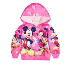 Пальто для маленьких девочек с Минни, весенне-осенняя Толстовка для маленьких девочек, куртка, худи для мальчиков и девочек, Повседневная Верхняя одежда с Микки Маусом, одежда для малышей
