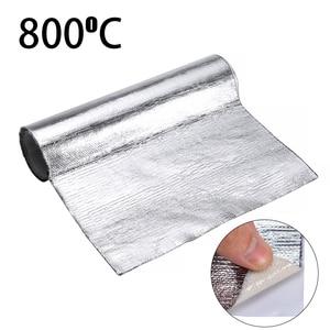 New 1 Roll Thick Aluminum Fiber Muffler Cotton Car Auto Fender Heat Sound Insulation Mat 25*50cm For Shielding Exhaust Bonnet